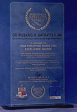Most Outstanding Dermatologist, Cosmetic and Laser Surgeon (National Awards) by Philippine Marketing Excellence Awards Institute