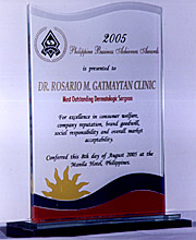 Most Outstanding Dermatologic Surgeon by Philippine Business Achievers' Awards
